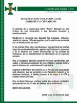 """Comité Cívico cruceño denuncia que activista """"fue torturado"""" y por eso lo operaron en Sucre"""