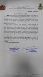 Vocal Mendoza aclara que fue disidente en la declinación de competencia en demanda por sesión del 6 de Agosto