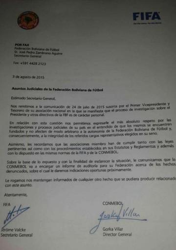 FIFA y Conmebol anuncian auditoria a la Federación Boliviana de Fútbol