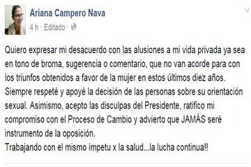 Campero acepta disculpas de Evo pero rechaza alusión