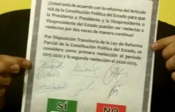 TSE presentó papeleta para el referéndum 2016 sobre la reelección presidencial