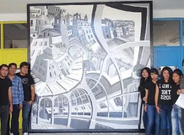 Mural 3D fue pintado por alumnos de Arquitectura