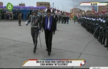 Morales coloca piedra fundamental de Línea Morada del teleférico