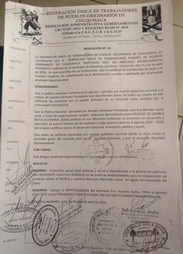 Campesinos de Chuquisaca resuelven apoyar la repostulación del presidente Evo en 2019
