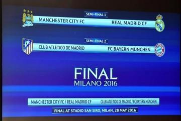 Madrid-City y Atlético-Bayern, los cruces de semis de la Champions