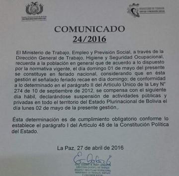 Ministerio de Trabajo confirma traslado del feriado por el Día del Trabajo al 2 de mayo