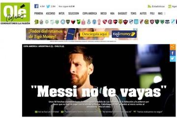 """La prensa argentina """"llora"""" el adiós de Messi tras la derrota de la selección"""