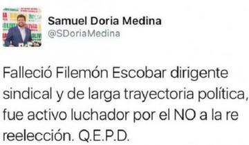 Samuel Doria Medina se equivoca al dar por muerto a Filemón Escobar