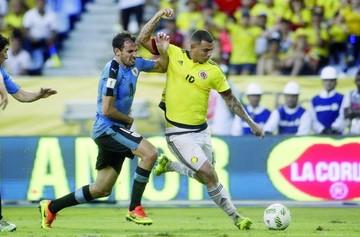 Colombia frena a Uruguay con un empate sobre el filo