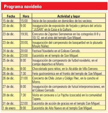Villa Serrano promociona agenda para vivir Navidad