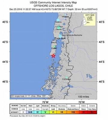 Sismo de 7,6 grados sacude Chile y rige alerta de tsunami