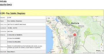 Sismo de magnitud 6.5 se siente en Sucre con epicentro en Zudáñez