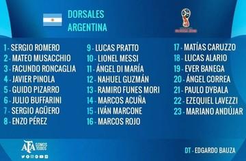 Argentina define lista de 23 jugadores para viajar a Bolivia