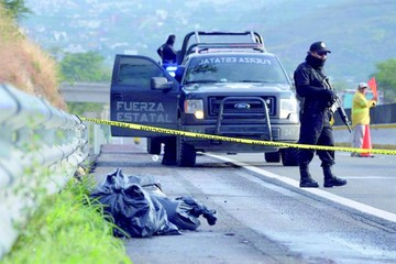 México: Hallan cabezas humanas en una carretera
