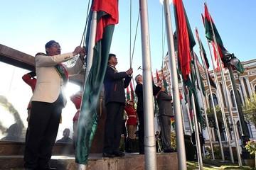 Autoridades rinden tributo a Pedro Domingo Murillo en Plaza de Armas de La Paz
