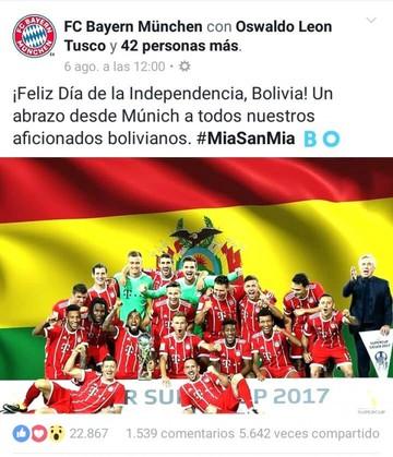 El Bayern Múnich manda felicitaciones a Bolivia por su aniversario