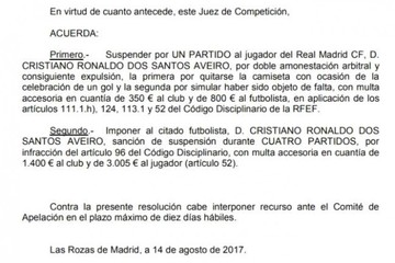 Juez de Competición sanciona a Cristiano con cinco partidos