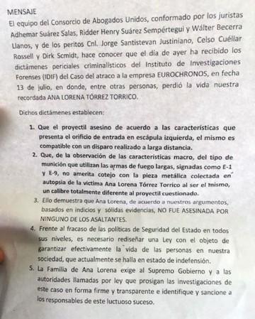 Informe revela que mujer de Eurochronos no murió por una bala del asaltante