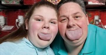 Padre e hija tienen la lengua más ancha del mundo
