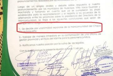Monteagudo y Huacareta deciden apartarse de la Mancomunidad del Chaco