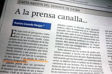 """Ejecutivo de empresa estatal anuncia """"desaparición"""" de El Diario"""