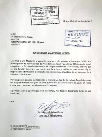 Médicos de El Alto presentan renuncia colectiva a sus cargos