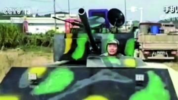 Lo multan por construir un tanque y pasearlo por la calle