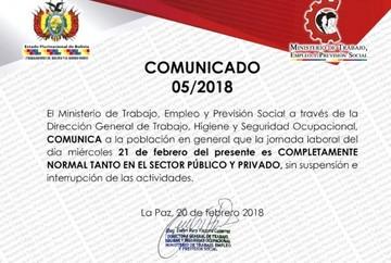 Ministerio de Trabajo comunica que la jornada laboral del 21 de febrero es normal