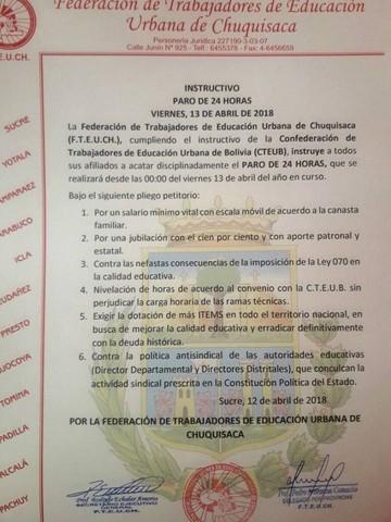 Maestros urbanos de Chuquisaca van a un paro de 24 este viernes 13 de abril