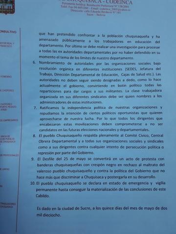 Cabildo exige la dimisión de autoridades chuquisaqueñas
