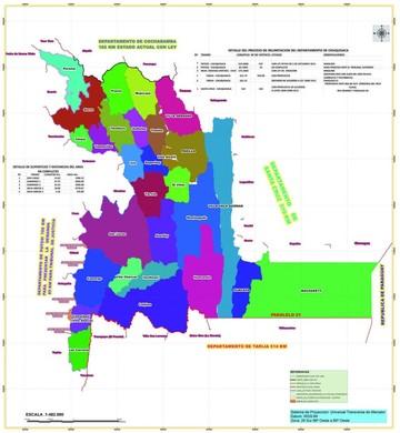 Plano de estado del proceso de delimitación interdepartamental e intradepartamental del departamento de Chuquisaca