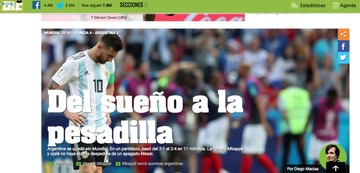 Medios argentinos lamentan la caída de la Albiceleste