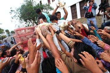 Avicultores regalan pollos vivos en protesta al incremento del precio de la harina de soya