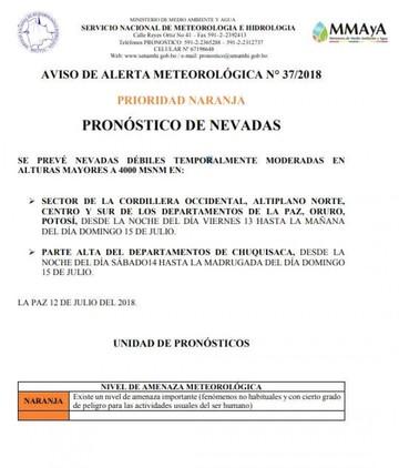 Senamhi prevé nevadas este fin de semana en zonas altas de Chuquisaca, La Paz, Oruro y Potosí