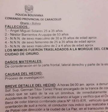 Ruta Potosí-LaPaz: Accidente de autobús deja al menos cinco muertos y 30 heridos