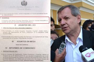 """""""Gringo"""" Gonzales presenta renuncia irrevocable a su mandato de senador"""
