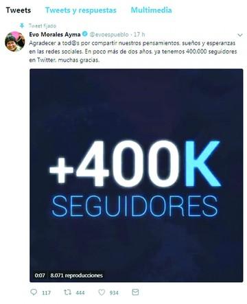 Evo alcanza los 400 mil seguidores en la red Twitter