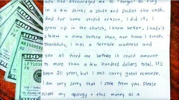 Camarera se disculpa por robar y devuelve con intereses