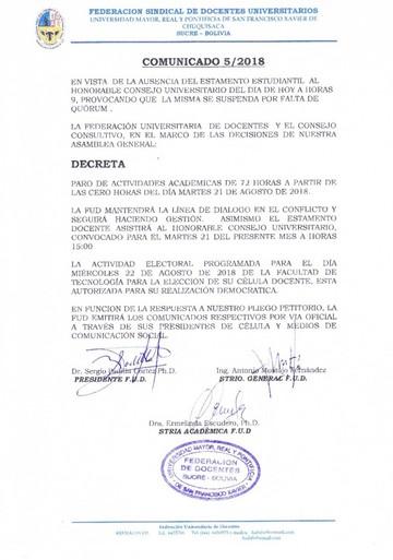 Docentes deciden ir al paro de 72 horas por suspensión de Consejo Universitario