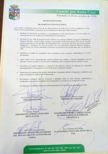 Comités cívicos convocan a marcha para el 10 de octubre