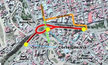 Corte de la Juana Azurduy afectará unos 200 metros