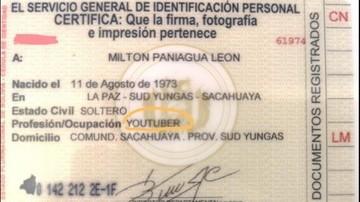Segip registra por primera vez a un youtuber boliviano