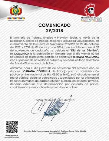 Gobierno dispone feriado para el viernes por Todos Santos