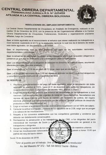 Sucre: Maestros urbanos instalan huelga de hambre exigiendo pago total del segundo aguinaldo