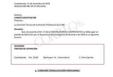 Comisión fija partido entre Universitario y Destroyers para este domingo