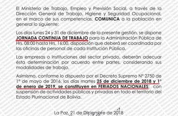Ministerio de Trabajo dispone horario continuo los días 24 y 31 de diciembre