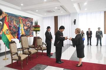 Embajadores de 11 países presentan cartas credenciales al presidente Morales