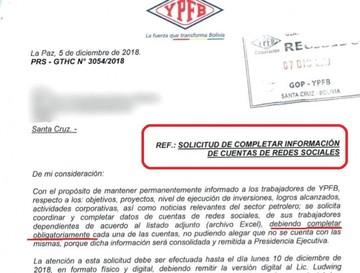 Un instructivo de la estatal YPFB a su personal levanta polémica
