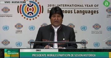 Evo sorprende con breve y trastabillado discurso en aymara-quechua ante la ONU