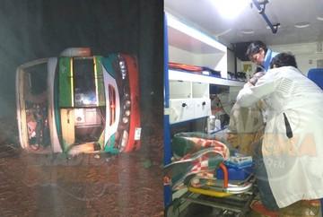 Vuelco de bus cerca de Padilla deja ocho personas heridas